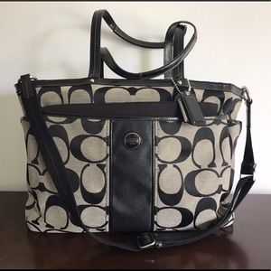 Coach Signature Stripe Multifunction Tote